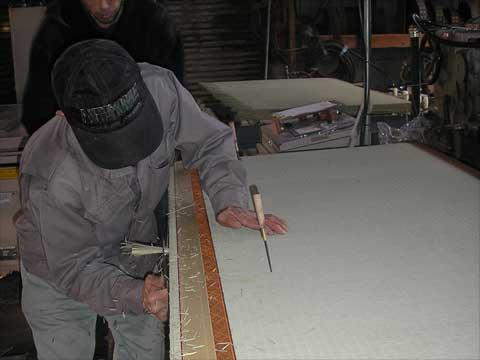 畳縁縫い付け処理